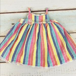 Gap Baby Girl Vertical Stripes W/eyelet Trim Dress